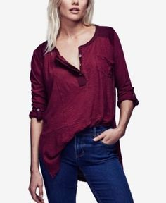 Free People Stargazer High-Low Henley Top - Red S