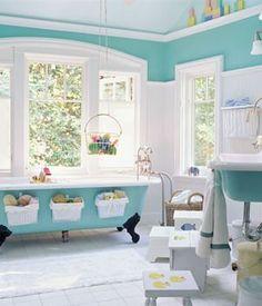 Janet Brooks Design ~ modern bathroom design 15 Modern Kids Bathroom Interior Design Ideas Before & After - spray painted wall art Bad Inspiration, Bathroom Inspiration, Hm Deco, Turquoise Bathroom, Turquoise Room, Kid Bathroom Decor, Family Bathroom, Small Bathroom, Bathroom Modern