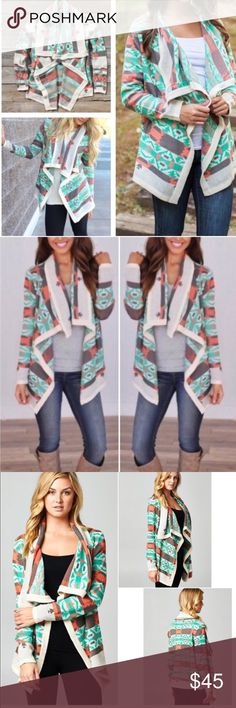 Last One❗️Tribal Cardigan Sweater This sweater is so comfortable and warm. Best selling sweater. Draped front with a loose flowy look. 75% Acrylic, 25% Mohair. Only Small left. Sweaters Cardigans
