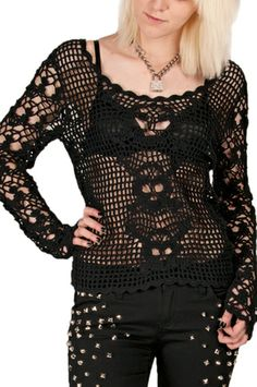 I Love this skull crocheted top! Brand TrippNYC  A cool tank top underneath & I'll be out the door!   They sell it in white also!  http://www.trashandvaudeville.com