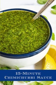 This fabulous Chimichurri Sauce will take grilled entrees, roasted veggies, seafood, eggs, potatoes, you name it, from ordinary to extraordinarily delicious! You can also use it as a salad dressing, a base for pizza, a dipping sauce for bread… #freshherbs #chimichurri #easysaucerecipe Best Pasta Recipes, Sauce Recipes, Lunch Recipes, Beef Recipes, Healthy Recipes, Healthy Eats, Steamed Shrimp, Grilled Pork, Chimichurri