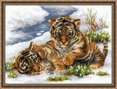 Набор для вышивания крестом 1564 Тигрята в снегу от РИОЛИС  Cross stitch kit Tiger Cubs in Snow by RIOLIS
