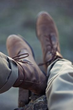 Boots and cuffed chinos