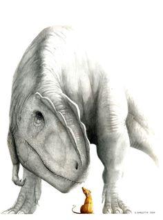 Giganotosaurus and small mammal by Diego Barletta
