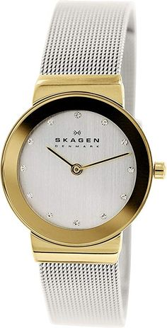 6c2dd0e3d28 Skagen Ladies Watch 358SGSCD with Silver Stainless Steel Bracelet and gold  case