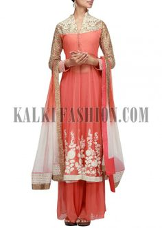 Peach anarkali suit embroidered in sequence and patched with palazzo plants