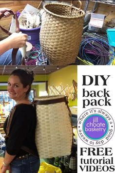 DIY Backpack with FREE tutorial Videos - Jill Choate Basketry - DIY Backpack with FREE tutorial Videos How to weave your OWN Adirondack Backpack with step-by-step videos. Grab the kit and get your weave on! Willow Weaving, Basket Weaving, Diy For Teens, Crafts For Teens, Diy Backpack, Beadwork Designs, Bamboo Crafts, Backpack Pattern, Easy Video
