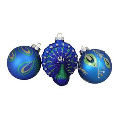 The Peacock Design Glass Ornaments from Northlight features 1 ornament shaped like a peacock and 2 ball ornaments with peacock designs. This elegant set will allow you to build your ornament collection quickly, and decorate your tree beautifully. Peacock Christmas Tree, Peacock Ornaments, Painted Christmas Ornaments, Gold Ornaments, Christmas Ornament Sets, Green Christmas, Christmas Tree Decorations, Christmas Bulbs, Holiday Decor
