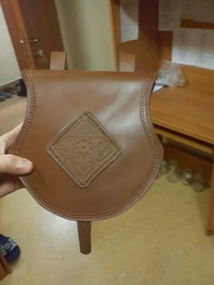 HISTORICAL Early medieval leather pouch. Handmade all the way using only medieval tools and resources, like head knife, sandstone, wooden punches (also crafted by me) to make the pattern, linen oil as a finish. Generally, historically appropriate all the way.