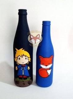 2 garrafas    garrafas pintadas a mão