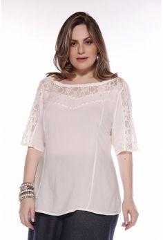 ffe3b7146ac17 Camisas Blusas - Cassia Segeti. Bata camponesa em viscose com detalhe em  renda