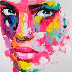 Acrylic Portrait Painting, Abstract Portrait, Voka Art, Abstract Face Art, L'art Du Portrait, Portraits, Watercolor Projects, Inspiration Art, Cool Paintings