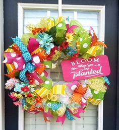 Spring WreathBloom Where You are Planted WreathDeco Mesh Spring Door Wreaths, Deco Mesh Wreaths, Easter Wreaths, Summer Wreath, Wreaths For Front Door, Christmas Wreaths, Bow Garland, Wire Wreath Frame, Mothers Day Wreath