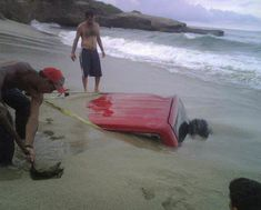 Car on the beach....I told him not to park here..