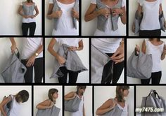 More than just a chic vest, the Wear Me Bag by designer Rotem Lewinsohn practically changes into a usable shopping bag. Easily take it off, zip up the parts, and Transformers, Sewing Hacks, Sewing Projects, Sewing Tutorials, Sewing Crafts, Beauty Tips And Secrets, Best Purses, Diy Couture, Ideias Diy