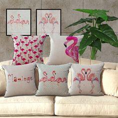 New Flamingo Soft Cotton Linen Pillow Case Waist Cushion Cover Home Sofa Decor