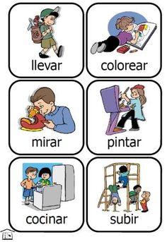 llevar, colorear, mirar, pintar, cocinar, subir dragen,kleuren,kijken,schilderen,koken,klimmen