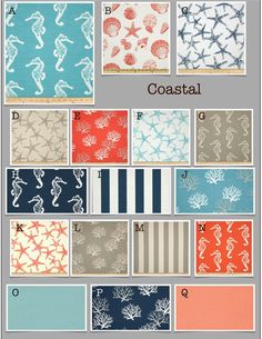 Custom Modern Crib Bedding -Design Your Own Baby Bedding-  Coastal- navy, coral, turquoise, gray on Etsy, $25.00