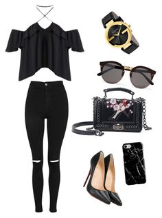 """""""Untitled #20"""" by natasyanab on Polyvore featuring Topshop, Christian Louboutin, Illesteva, Recover and Gucci"""