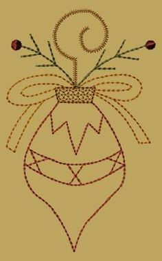 PK097 Christmas Ornament Joy - 5x7: Primitive Keepers, Prim Machine Embroidery Designs