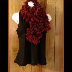 Extra Soft Ruffled Crimson and Red Fringe Knit Scarf