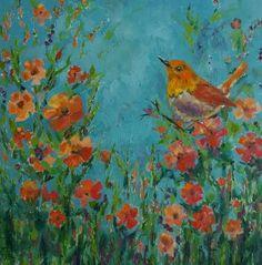 "Saatchi Art Artist Bhavna Misra; Painting, """"Songs of Robin"" - Oil Painting"" #art"
