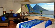 Three-walled suites cling to the hillside at Jade Mountain hotel, a romantic retreat on St Lucia with open-air views of the Piton peaks from private infinity pools. St Lucia Hotels, St Lucia Resorts, Hotels And Resorts, Inclusive Resorts, Beach Resorts, Top Hotels, Luxury Hotels, Luxury Travel, Jade Mountain St Lucia