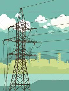 High Voltage Tower on Urban Background by aerobaby High-voltage tower silhouette on the urban background. Vector illustration. EPS 8.