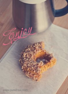 gluten free vegan pumpkin glazed donuts with a pecan crumble