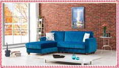 2016 Blue sofa, A trendy and magical choice for your interior design Sofa Uk, Couch, Sofa Colors, Comfortable Sofa, Outdoor Furniture Sets, Outdoor Decor, Living Room Sofa, Interior Design, Blue