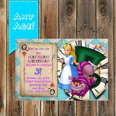 Alice in Wonderland Birthday Invitation by MyPrintablePartyLine