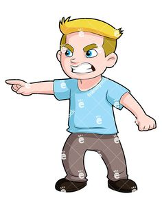 An Angry Young Boy Pointing His Finger At Something And Scowling: Royalty-free vector clipart of an angry young boy pointing his finger at something and scowling. He's leaning and looking to the side where he's pointing. Free Vector Clipart, Kids Vector, Pointing Fingers, Young Boys, Bullying, Royalty, Clip Art, Cartoon, Illustration