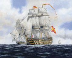 """""""Reina Luisa""""     Considerado el mejor tres puentes de la Real Armada el  fue en verdad un soberbio navío de primera clase y 112 cañones -Carlos Parrilla:"""