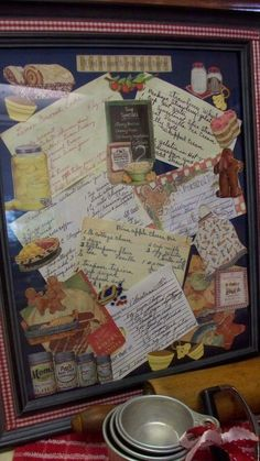display old recipes hand written \ display old recipes hand written Old Recipes, Vintage Recipes, Family Recipes, Italian Recipes, Framed Recipes, Shadow Box Memory, Craft Projects, Projects To Try, Recipe Scrapbook