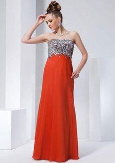 Column Strapless Beadings Bustband Chiffon Floor-length Prom Dresses