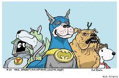 Yukk, Dynomutt, Ace the Bat-Hound, Lockjaw and Snoopy by Nick Pitarra