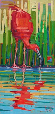 """Scarlet Ibis Reflected,"" by René Wiley by Rene' Wiley Gallery Oil ~ 24 x 12 Bird Quilt, Bird Artwork, Wow Art, Wildlife Art, Beach Art, Acrylic Art, Animal Paintings, Les Oeuvres, Sculpture Art"