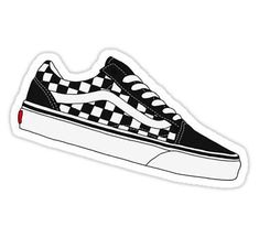 'Vans Old Skool Low - Checkerboard' Sticker by Dylan Rogers Stickers Cool, Red Bubble Stickers, Tumblr Stickers, Phone Stickers, Printable Stickers, Vans Wallpaper, Best Wallpaper Iphone, Wallpaper World, Trendy Wallpaper