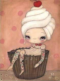 Cupcake Print---Tattood Cupcake Girl 5 x 7