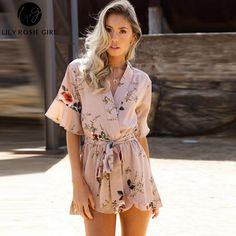 efa39869141 V Neck Floral Print Ruffle Playsuit. ooMAXI. cute Floral Print V neck  Strappy Romper