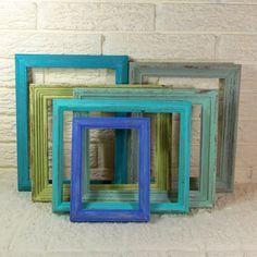 Shabby Chic Instant Collection of Frames - Beach Seaside Blues, Grays and Greens - Set of 6 on Etsy, $59.00