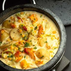 In this chowder recipe, fish, potatoes and pancetta combine to make a wonderfully creamy broth. Smoked cod loin has a lovely flavour and has a good thick, chunky cut.