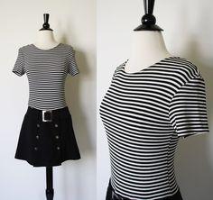 80s Dress / Black and White Striped Military by SundayInSavannah, $28.00