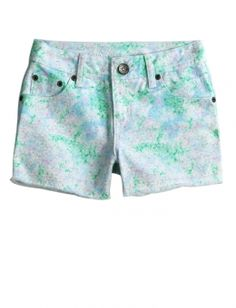 Printed Dye Effect Denim Shorts