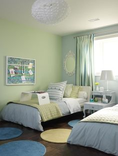 Green and Blue Kids Room, Contemporary, boy's room, ICI Dulux Shy Blossom, Sarah Richardson Design