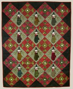 """""""Warm Woolen Mittens"""" quilt pattern, 45 x 56"""", by Bonnie Sullivan at All Through The night.  Churn dash blocks and snowmen tucked into mittens. (this is cute cute cute!)"""