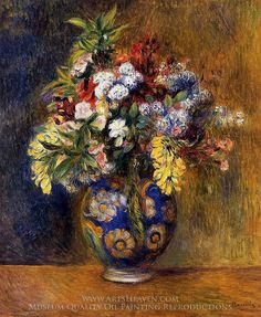 Pierre-Auguste Renoir Flowers in a Vase Painting Reproduction Art On Canvas
