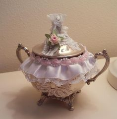 Jewelry Holder trinket former Silver plate Sugar Pot transformed jewelry boxe candle holder bath salt urn