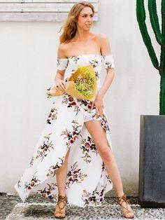 White Off Shoulder Front Slit Maxi Dress