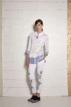 #danieladallavalle #collection #ss16 #elisacavaletti #blouse #trousers #necklace #shoes #jewellery # black #white #blue #lightblue #print #fantasy #floreal #butterfly #colours